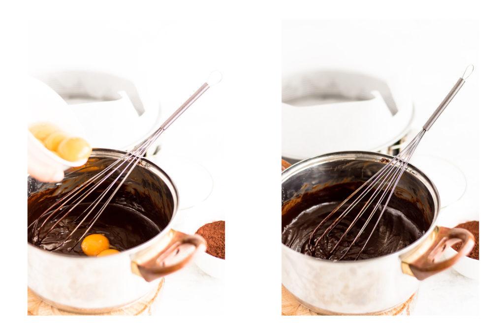 Смес от разтопен шоколад, масло и жълтъци