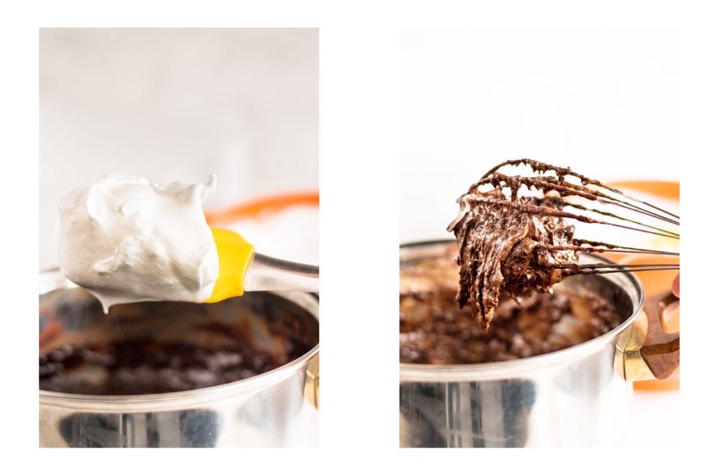 Добавяме разбити белтъци със захар към шоколадовата смес