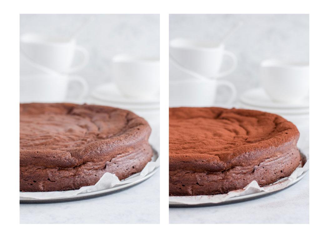 Готова торта поръсена с какао