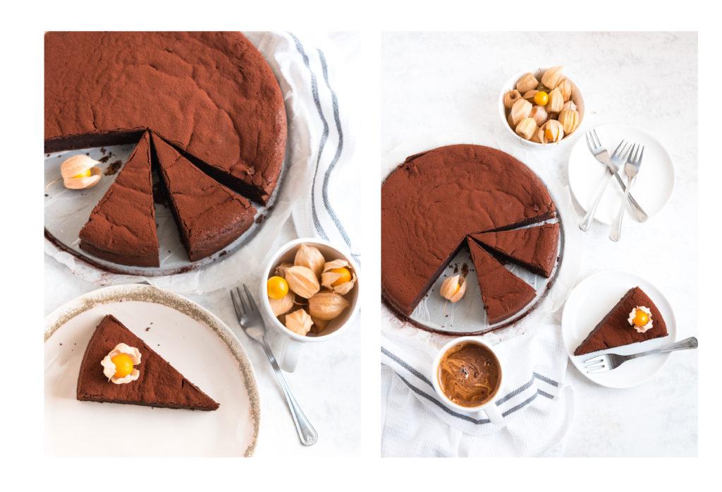 Разрязана шоколадова торта на парчета